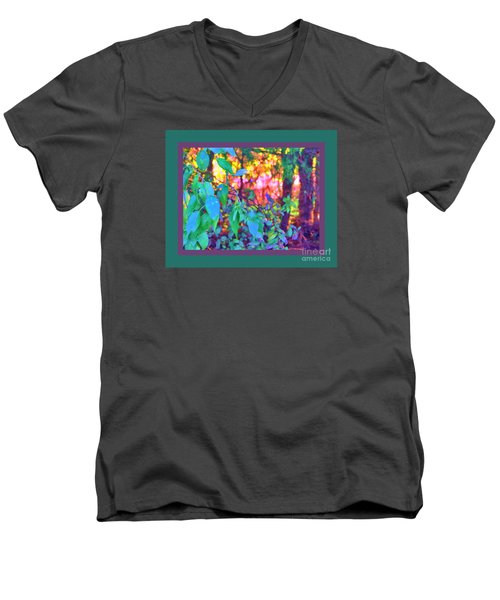 Men's V-Neck T-Shirt featuring the photograph Sunset Thru The Trees Green Border by Shirley Moravec