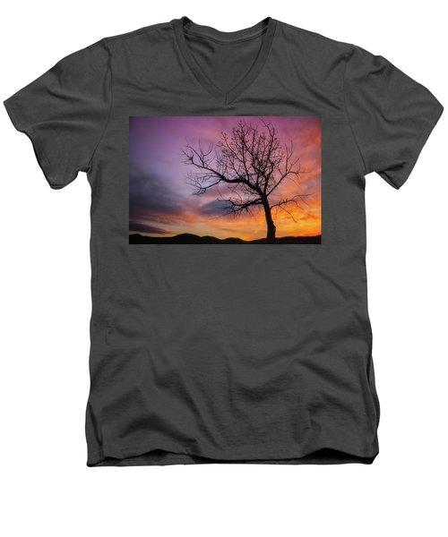 Sunset Tree Men's V-Neck T-Shirt by Darren White