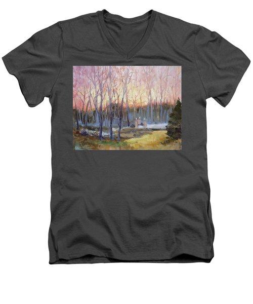 Sunset Trees Men's V-Neck T-Shirt by Irek Szelag