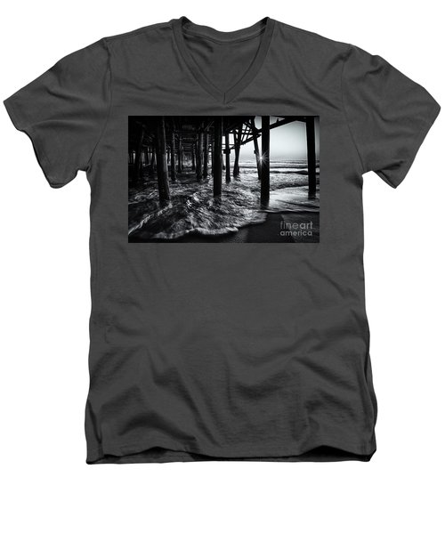 Sunset Under The Santa Monica Pier Men's V-Neck T-Shirt