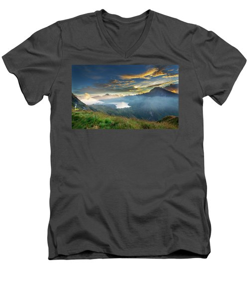 Sunset View From Mt Rinjani Crater Men's V-Neck T-Shirt
