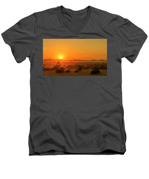 Sunset View Of Bagan Pagoda Men's V-Neck T-Shirt
