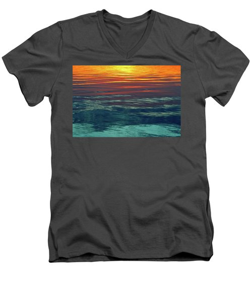 Sunset Water  Men's V-Neck T-Shirt by Lyle Crump