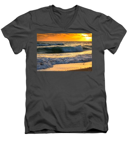 Sunset Waves Men's V-Neck T-Shirt by Rebecca Hiatt