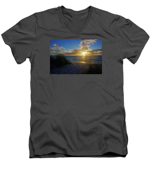 Men's V-Neck T-Shirt featuring the photograph Sunset Windsurfer by Robb Stan