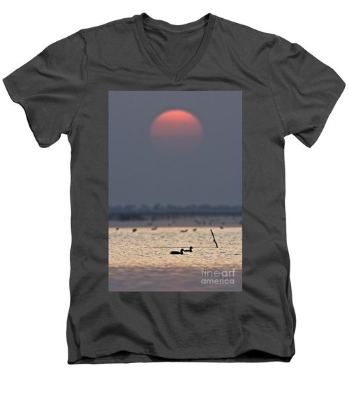 Sunset With Coots Men's V-Neck T-Shirt