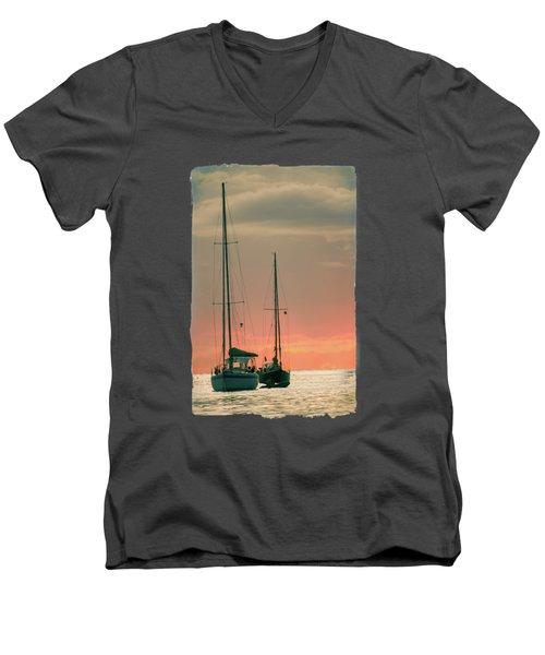 Sunset Yachts Men's V-Neck T-Shirt by Konstantin Sevostyanov