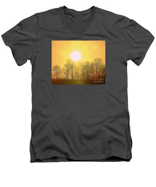 Men's V-Neck T-Shirt featuring the photograph Sunset Yellow Orange by Shirley Moravec