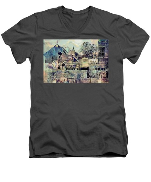 Men's V-Neck T-Shirt featuring the digital art Sunsets And Blue Point Collage by Susan Stone