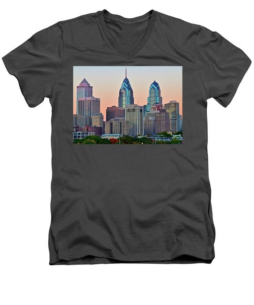 Men's V-Neck T-Shirt featuring the photograph Sunsets Glow In Philly by Frozen in Time Fine Art Photography