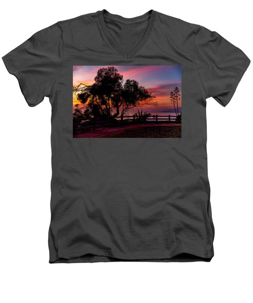 Sunset Silhouettes From Palisades Park Men's V-Neck T-Shirt