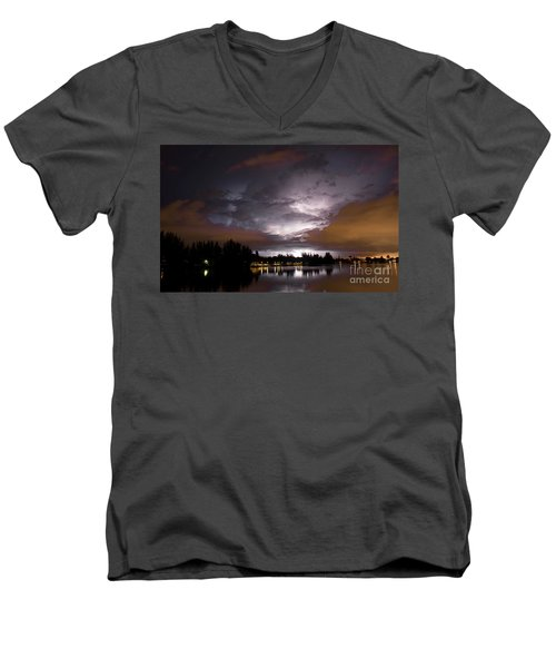 Sunsplash Nights Men's V-Neck T-Shirt by Quinn Sedam