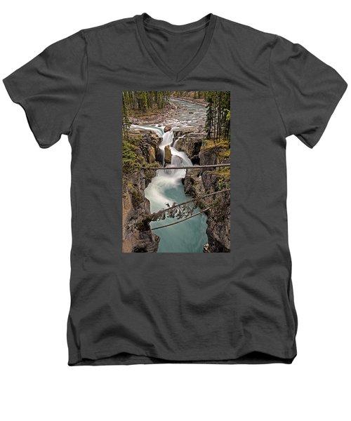 Sunwapta Falls Men's V-Neck T-Shirt by John Gilbert