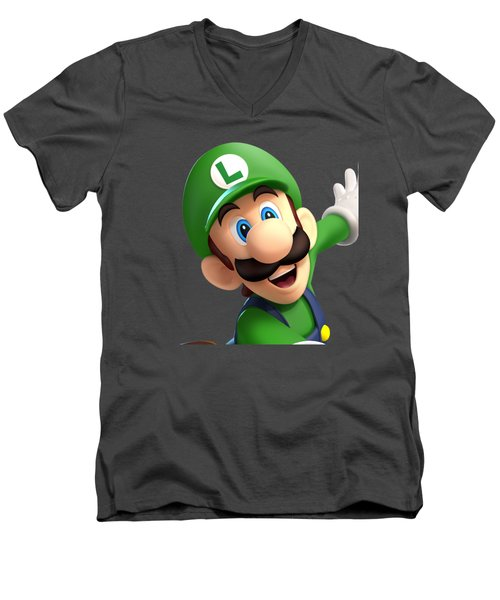 Super Luigi Art Men's V-Neck T-Shirt