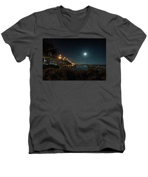 Super Moon And Bridge Lights Men's V-Neck T-Shirt