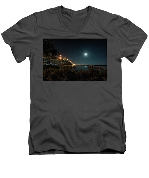 Super Moon And Bridge Lights Men's V-Neck T-Shirt