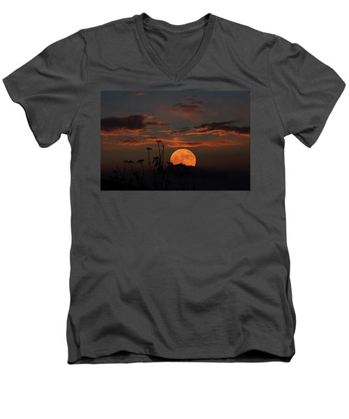 Super Moon And Silhouettes Men's V-Neck T-Shirt by John Haldane