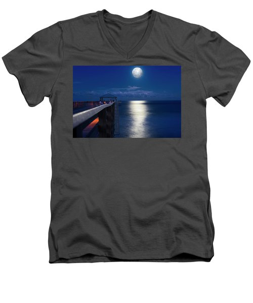 Men's V-Neck T-Shirt featuring the photograph Super Moon At Juno by Laura Fasulo