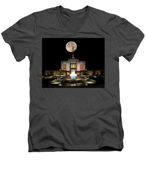 Super Moon At Ogden Lds Temple Men's V-Neck T-Shirt