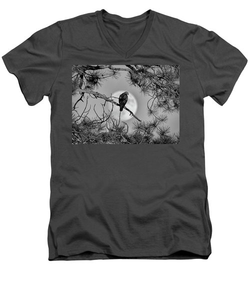 Men's V-Neck T-Shirt featuring the photograph Super Moon Hawk by Kevin Munro