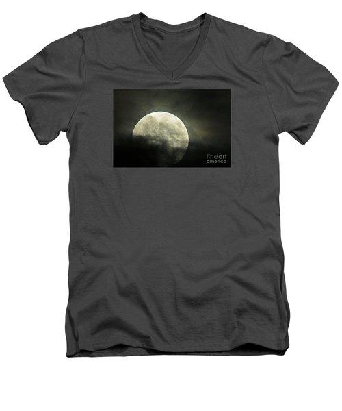 Super Moon In Clouds Men's V-Neck T-Shirt