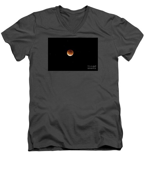 Men's V-Neck T-Shirt featuring the photograph Super Moon Lunar Elipse Images- 2015 by Janie Johnson