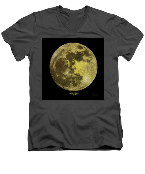 Men's V-Neck T-Shirt featuring the photograph Super Moon by Mark Allen