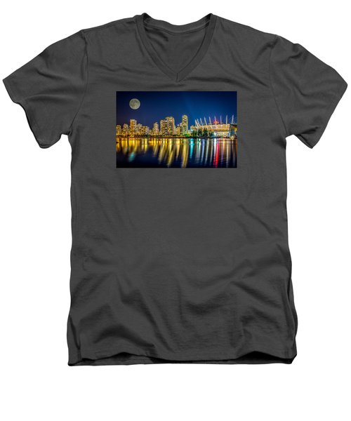 Men's V-Neck T-Shirt featuring the photograph Super Moon Over Vancouver  by Sabine Edrissi