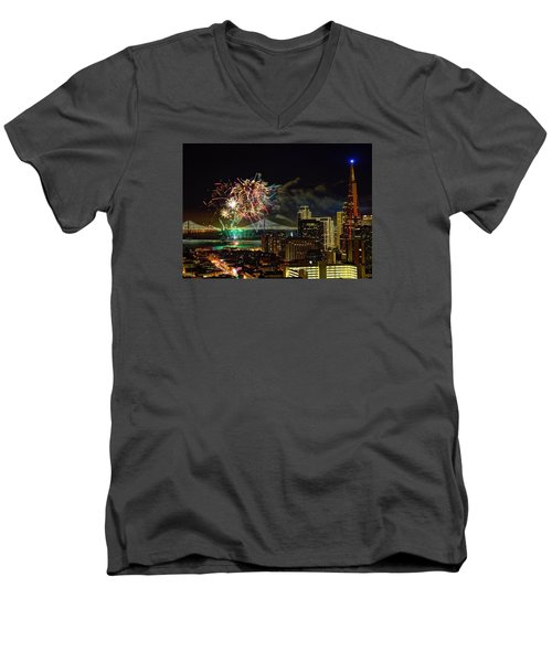 Superbowl 50 Fireworks From Atop Russian Hill Men's V-Neck T-Shirt
