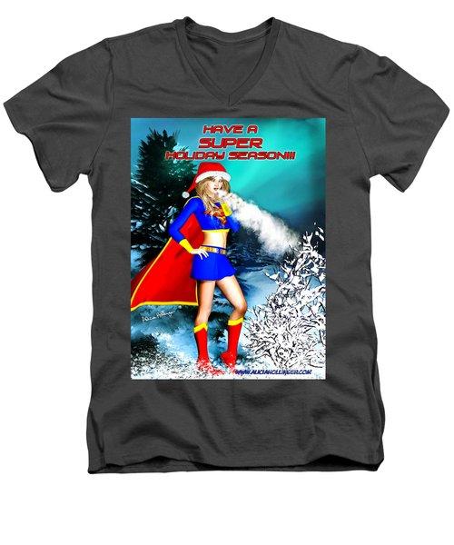 Supergirl Holiday Greeting Card Men's V-Neck T-Shirt
