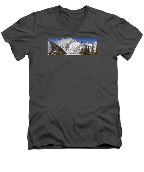 Superior Peak Wasatch Mountains Utah Panorama Men's V-Neck T-Shirt by Utah Images
