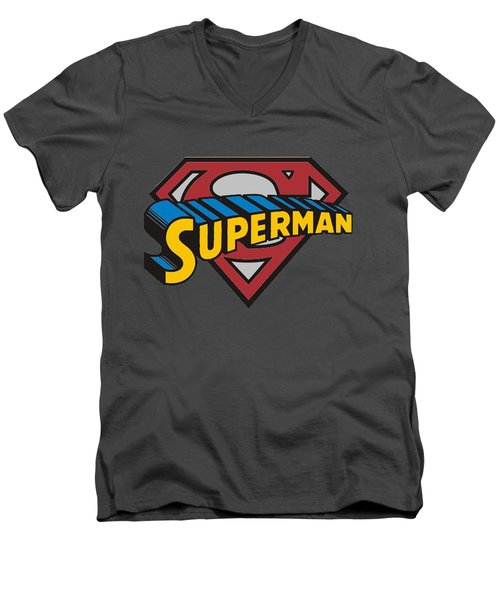 Superman T-shirt Men's V-Neck T-Shirt by Herb Strobino