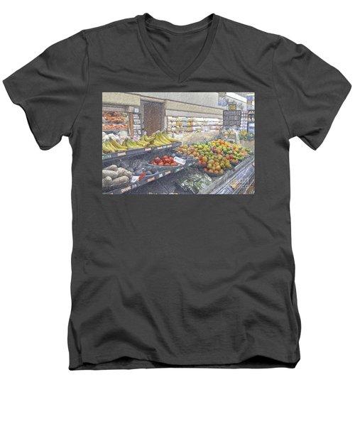 Men's V-Neck T-Shirt featuring the photograph Supermarket Produce Section by David Zanzinger