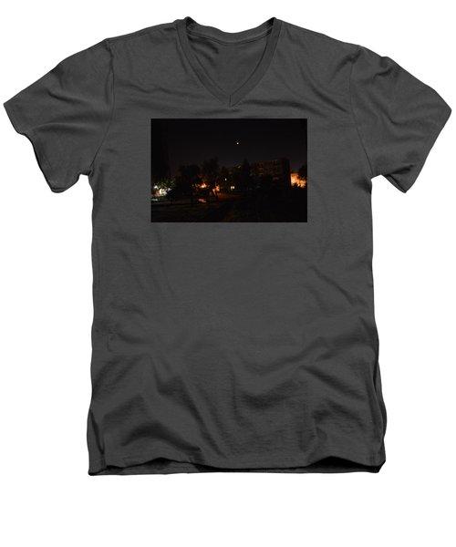Supermoon Men's V-Neck T-Shirt by Henryk Gorecki