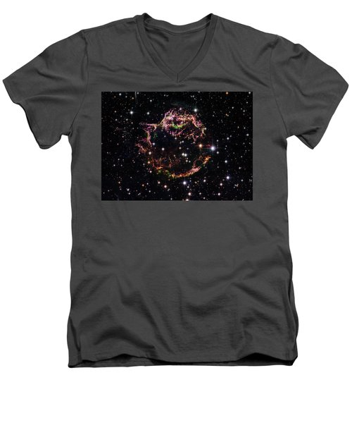 Men's V-Neck T-Shirt featuring the photograph Supernova Remnant Cassiopeia A by Marco Oliveira