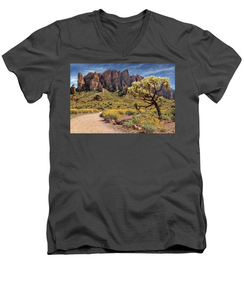Men's V-Neck T-Shirt featuring the photograph Superstition Mountain Cholla by James Eddy