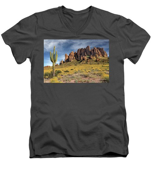 Men's V-Neck T-Shirt featuring the photograph Superstition Mountains Saguaro by James Eddy