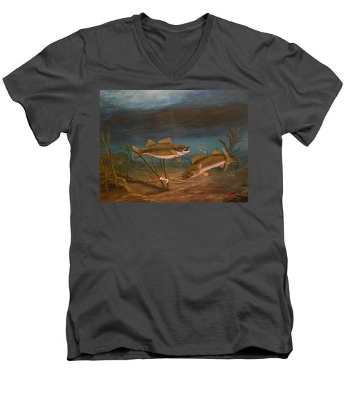 Men's V-Neck T-Shirt featuring the painting Supper Time by Sheri Keith