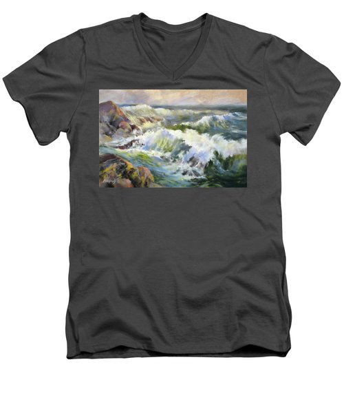 Surf Action Men's V-Neck T-Shirt by Rae Andrews