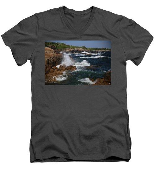 Surf At Biddeford Pool Men's V-Neck T-Shirt