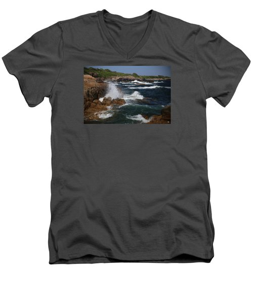 Surf At Biddeford Pool Men's V-Neck T-Shirt