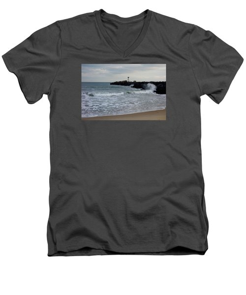 Men's V-Neck T-Shirt featuring the photograph Surf Beach At Manasquan Inlet by Melinda Saminski