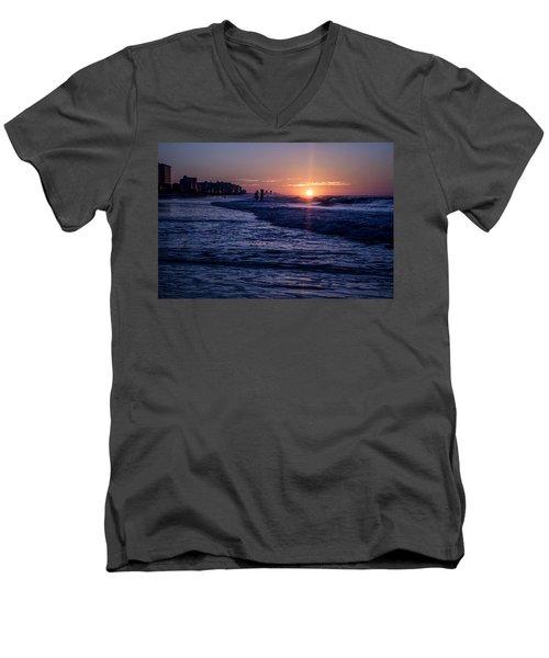 Surf Fishing At Sunrise Men's V-Neck T-Shirt