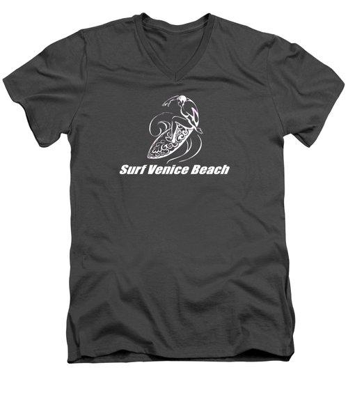 Surf Venice Beach Men's V-Neck T-Shirt by Brian Edward