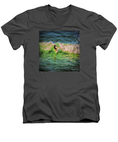 Men's V-Neck T-Shirt featuring the photograph Surfer  ... by Chuck Caramella