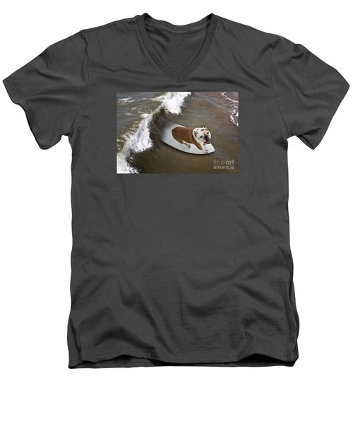 Men's V-Neck T-Shirt featuring the photograph Surfer Dog by John A Rodriguez
