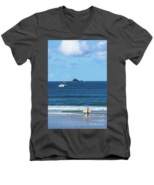 Surfer On Main Beach Men's V-Neck T-Shirt