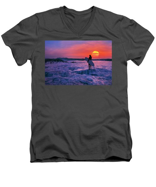 Surfer On Rock Looking Out From Blowing Rocks Preserve On Jupiter Island Men's V-Neck T-Shirt by Justin Kelefas