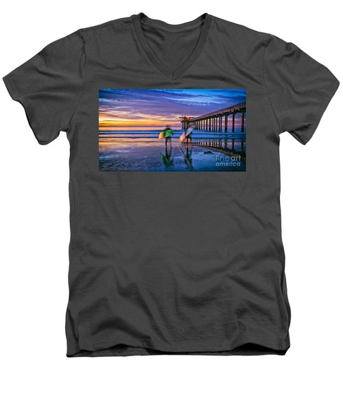 Surfers At Scripps Pier In La Jolla California Men's V-Neck T-Shirt