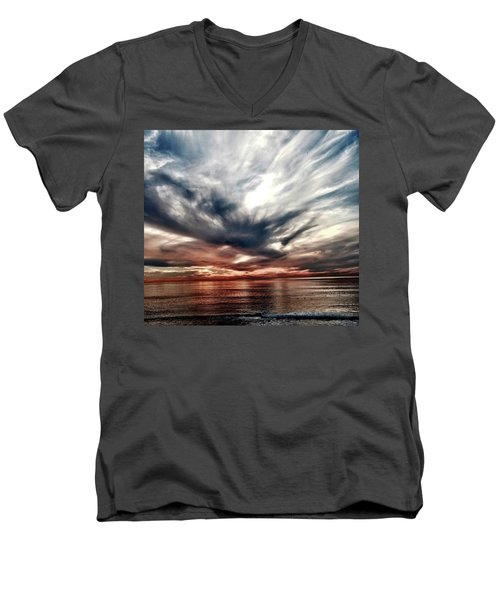 Surfers At Sunset Men's V-Neck T-Shirt